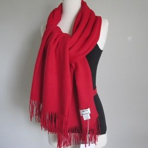 Acne Studios Red Wide Scarf 100% Virgin Wool Shawl